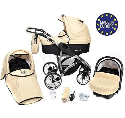 Baby-Sportive-Allivio-Sistema-de-viaje-3-en-1-silla-de-paseo-carrito-con-capazo-y-silla-de-coche-RUEDAS-GIRATORIAS-y-accesorios-color-crema-0