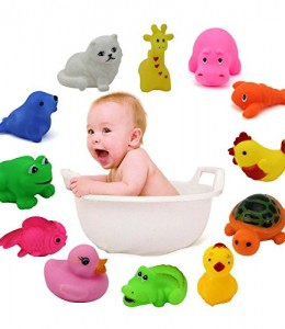 HuntGold-1-set-de-Juguetes-para-el-Bao-de-12-piezas-Coloridos-Animales-flotantes-de-Goma-Suave-Jueguete-baera-ducha-de-Bao-Natacin-beb-Nios-0