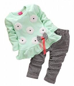 Koly-Conjuntos-de-beb-Juegos-de-chicas-camisa-larga-de-la-manga-del-arco-de-la-flor-Plaid-Pantaln-0